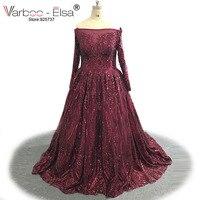 VARBOO ELSA Custom Quality Evening Dress Elegant Burgundy Sequined Long Sleeve Prom Dress Sexy Boat Neck