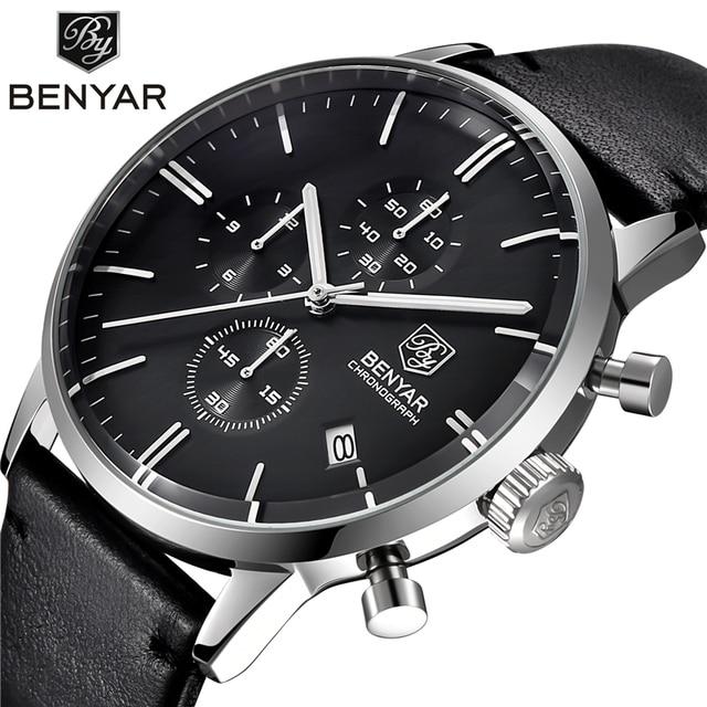 Reloj Hombre 2016 BENYAR Fashion Leather Strap Mens Watches Top Brand Luxury Stainless Steel Case quartz-watch Relogio Masculino
