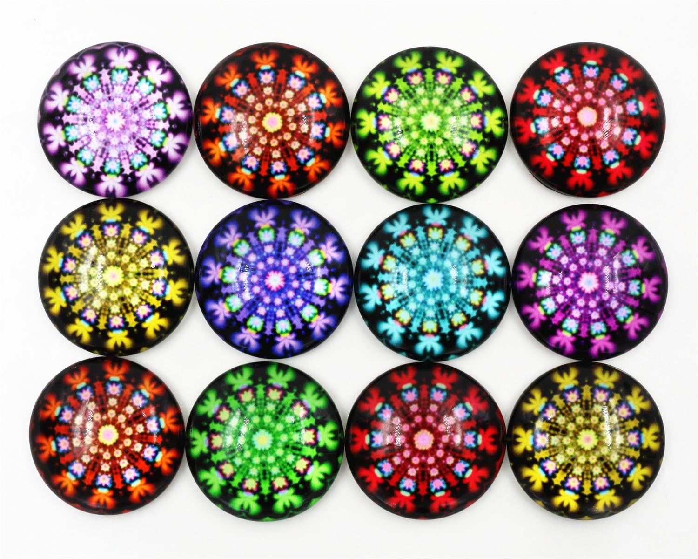 Лидер продаж 10 шт. 25 мм Новая мода смешанные Цветной фейерверк снежинки ручной работы Стекло кабошоны куполом Jewelry Интимные аксессуары-f1-24
