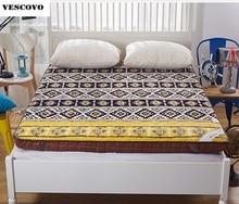 Bohemen stijl matras Dikke koraal fluwelen tatami matras student slip dubbele soft warm bed beddengoed