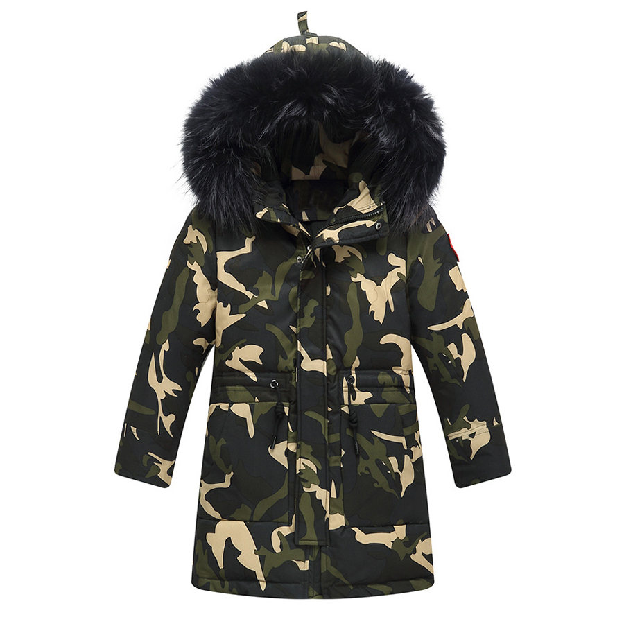 IYEAL Down Jacket Kids Boys Winter Thick Warm White Duck Down Hooded Natural Fur Collar Camouflage Children Outerwear CoatIYEAL Down Jacket Kids Boys Winter Thick Warm White Duck Down Hooded Natural Fur Collar Camouflage Children Outerwear Coat