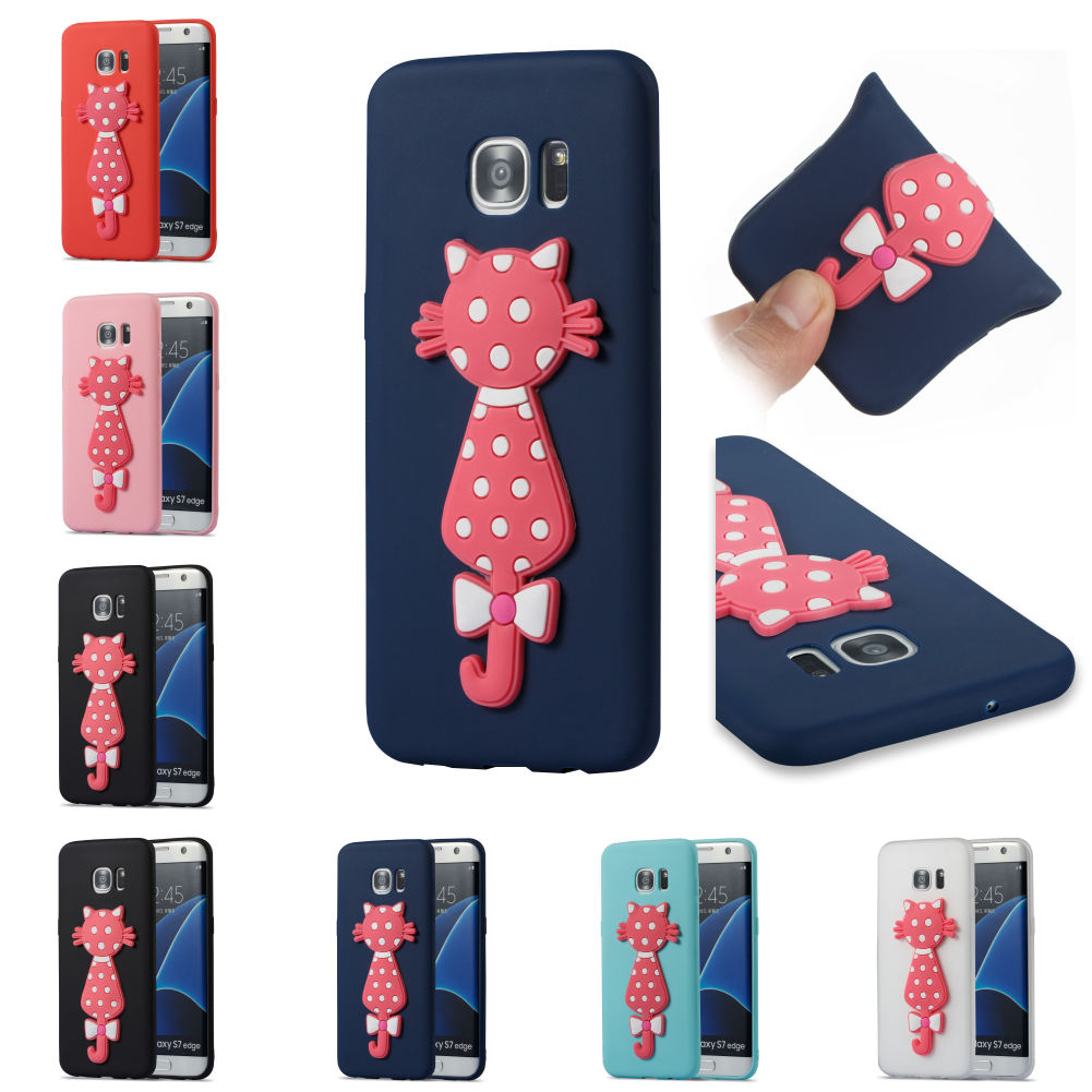 3D Cat TPU Cartoon Silicone Kryty Shell Cubierta Phone Case For Sumsung Samsung Galaxy S7 Edge SM G935F