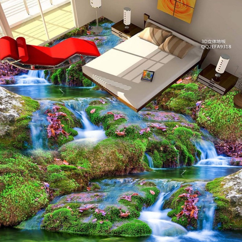 цена  Free Shipping beautiful stream 3D floor tiles painting wear non-slip home decoration flooring bedroom wallpaper mural  онлайн в 2017 году