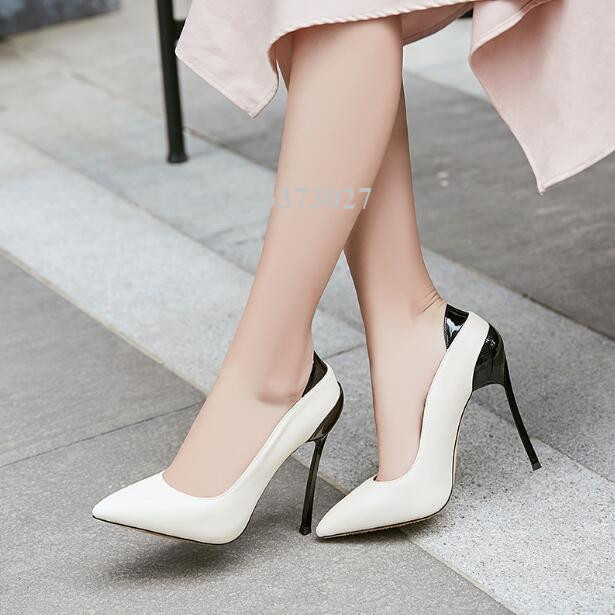 Пикантные Лоскутные женские модельные туфли на тонком металлическом каблуке с острым носком; модные кожаные женские офисные туфли лодочки