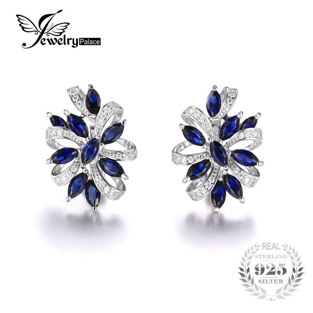 Jewelrypalace Unique Design 21ct Created Clip On Earrings Genuine 925  Sterling Silver Jewelry Clip Earrings