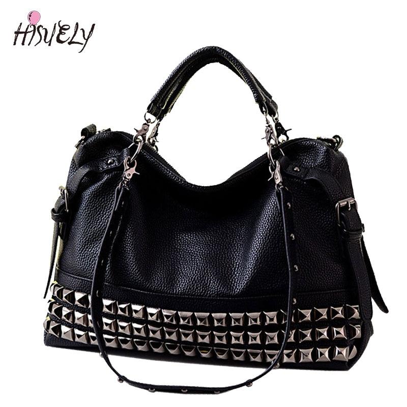 Noua moda Femeile de moda de mână sac de motocicletă Rivet Bag umăr de mână Femeie de mână Bag-uri mari Bag Messenger BAGM6185