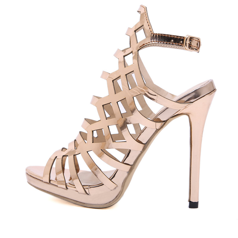 a27c0e1966 Noble Gold High Sandals Sexy Peep Toe Hollow Pumps Shoes Summer Comfortable  Ladies Gladiator High Heels Nightclub Party Shoes-in Women's Pumps from  Shoes on ...