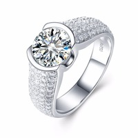 Moissanite Engagement Ring Luxury 3 Carat ct DF Color Lab Grown Diamond Ring With Moissanite Accents Solid 14K White Gold rings
