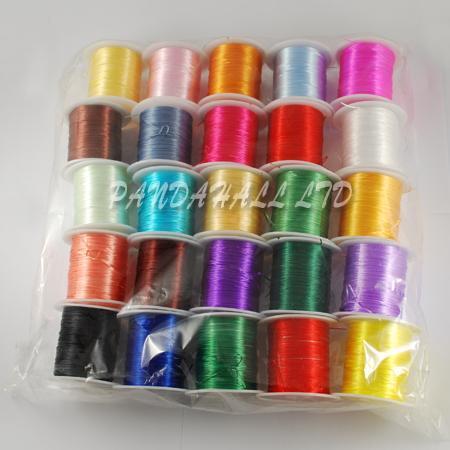 Elastic Fibre Wire, Mixed Color, 0.8mm; 10m/roll, 25rolls/bag