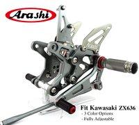 Араши ниндзя ZX6R 09 14 опоры для ног задние регулируемая подножка подножки для Kawasaki ZX 6R ZX636 2009 2010 2011 2012 2013 2014