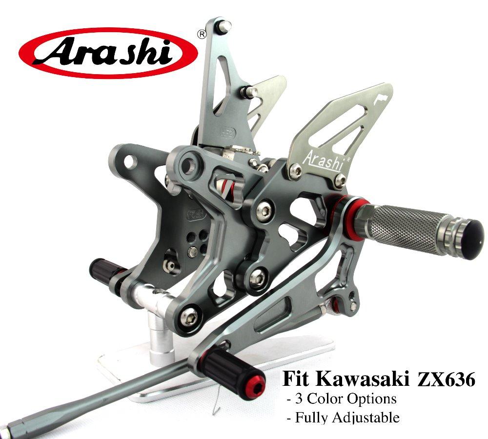 Arashi NINJA ZX6R 09-14 Footpegs Rearset Adjustable Footrest Foot Pegs For KAWASAKI ZX-6R ZX636 2009 2010 2011 2012 2013 2014 все цены