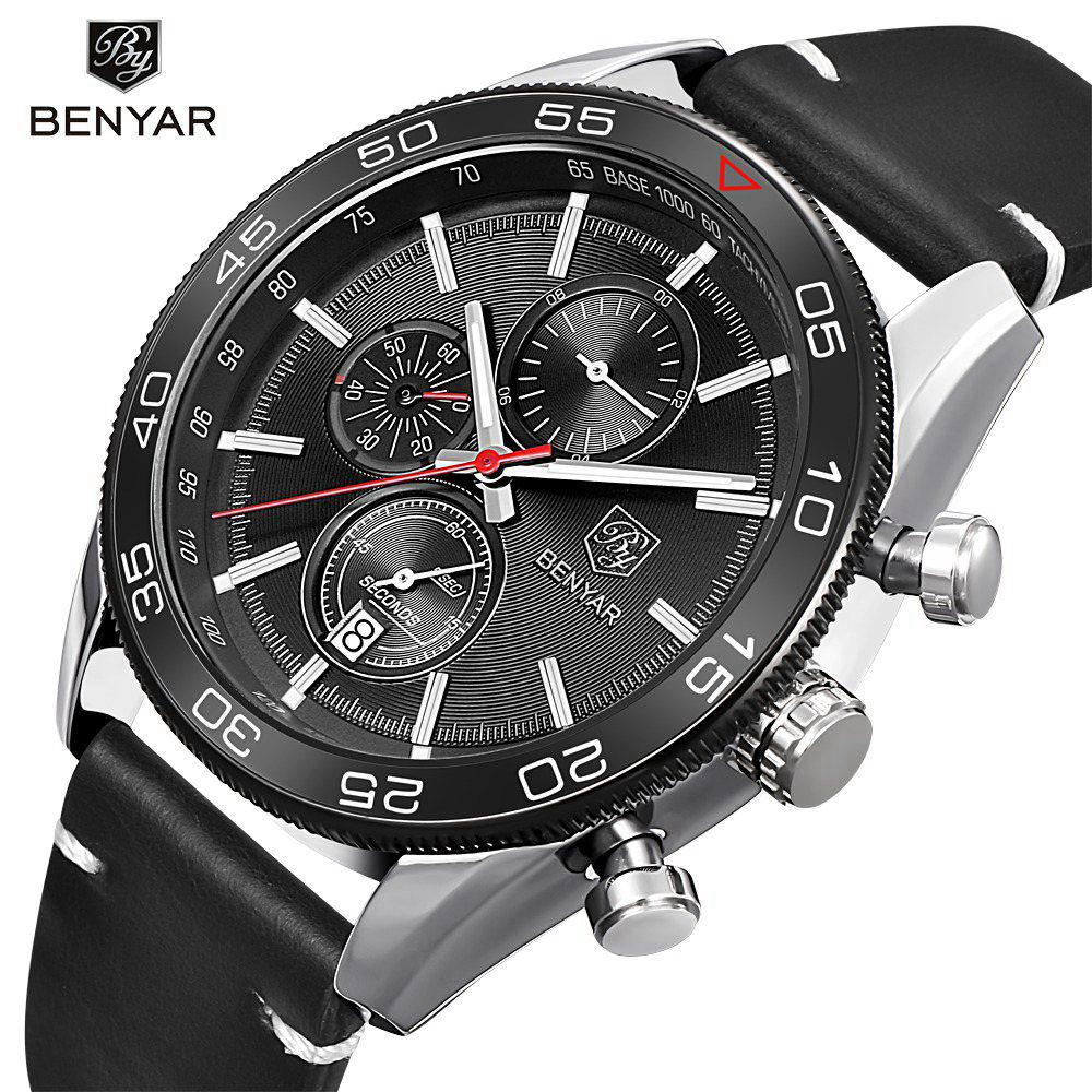 BENYAR Men Watches Top Brand Luxury Chronograph Quartz Wrist Watch Men Sport Watches Male Clock Hodinky relogio masculino saat xinge top brand luxury leather strap military watches male sport clock business 2017 quartz men fashion wrist watches xg1080