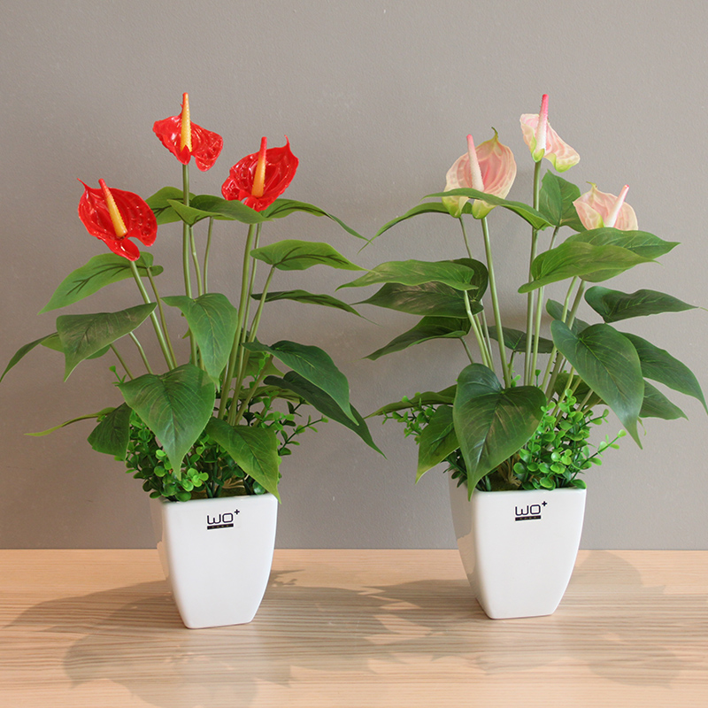Artificial flowers calla Flower Bonsai home decor Simulation flowers Ceramic vase bonsai potted set wedding party decoration in Artificial Dried Flowers from Home Garden