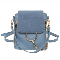 2019Summer new Contrast color Backpack Female Luxury Brand Designed Mini Backpack Round Ring Schoolbag PU Leather Women Backpack
