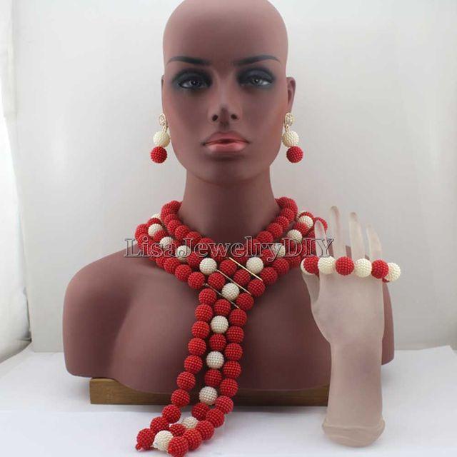החדש הארוך האדום/לבן שרשרת פניני פלסטיק ממצאי תכשיטי חרוזים אפריקאים סט חתונה ניגרית מסורתית HD7985