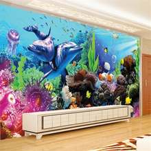 beibehang Custom photo wallpapers 3d large mural underwater world aquarium 3d stereo tropical fish TV wall paper papel de parede discount 6 7pcs baby cot bedding set character crib linen set 100