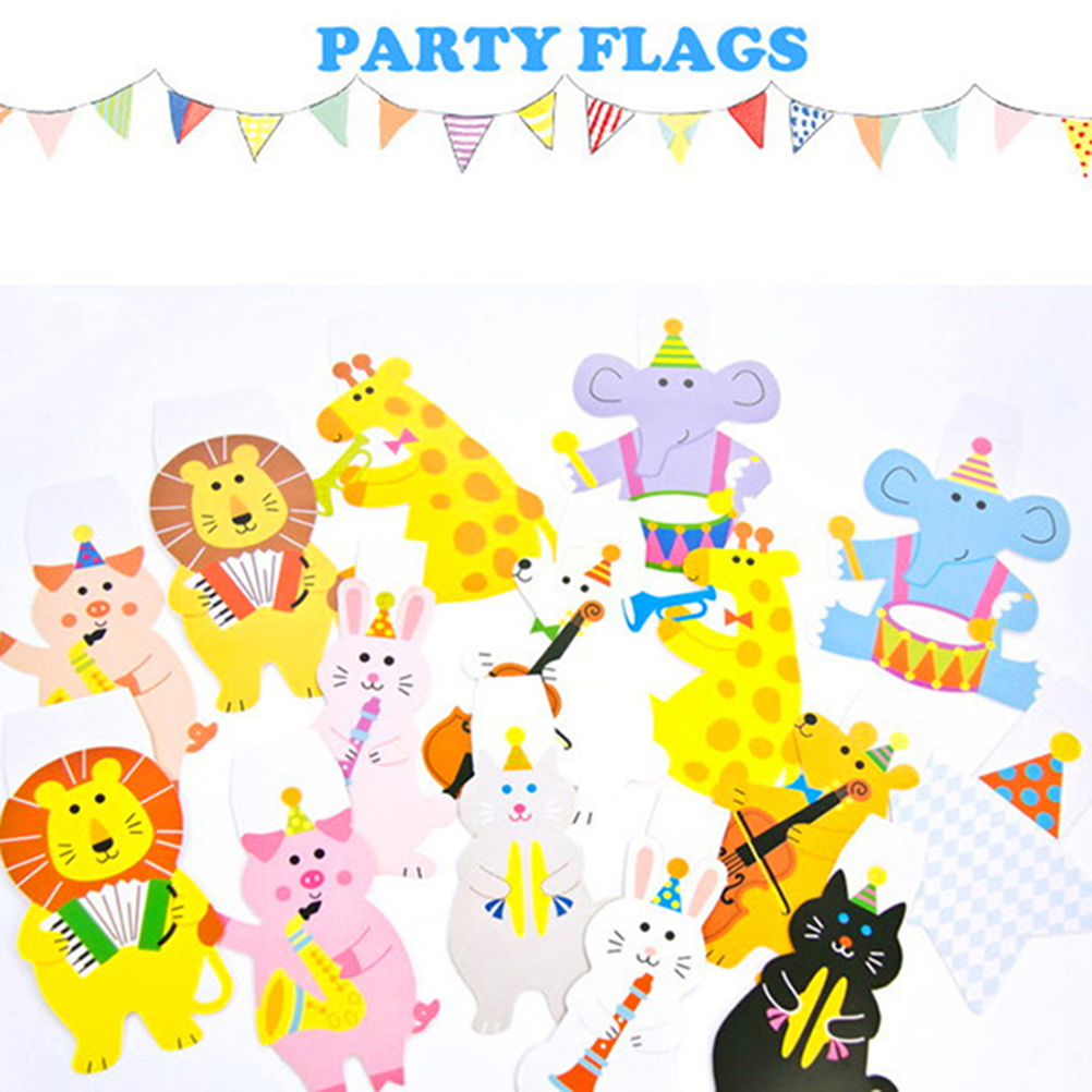 Happy Family Baby Shower Garland Striped Paper Flags Cartoon Animal ...