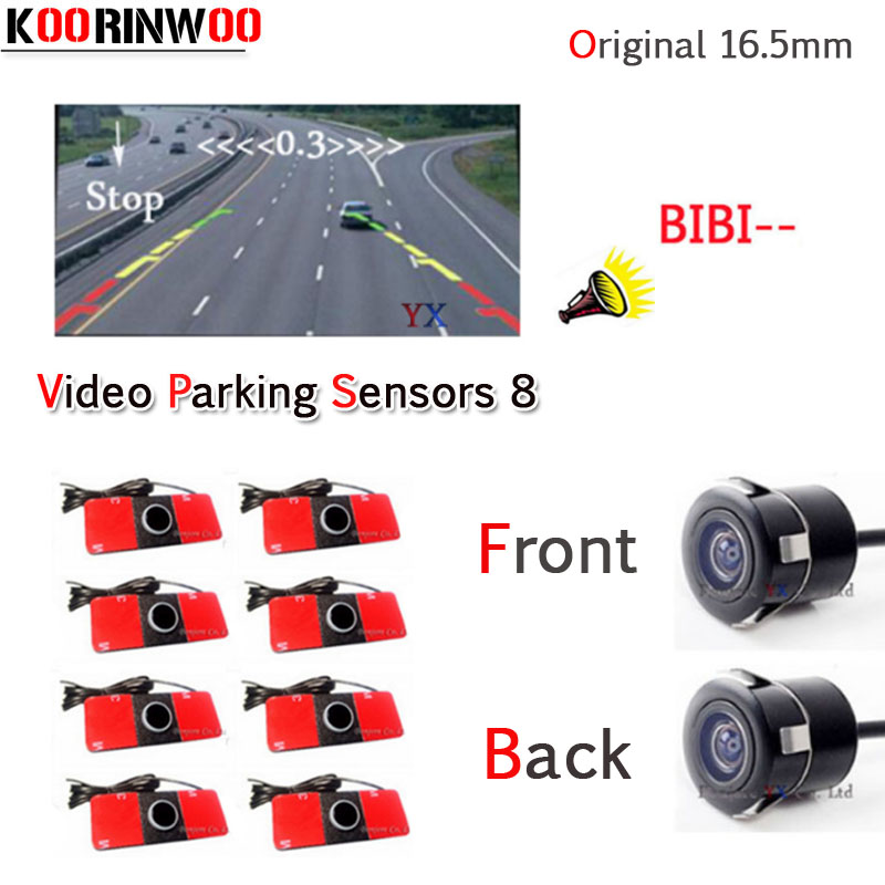 KOORINWOO Dual Core CPU Car Parking Sensor 8 Reversing Radar Video System with Car Rear view Camera car front camera bibi Alert new dual channel video car parking sensors reverse radar system 8 sensor with front