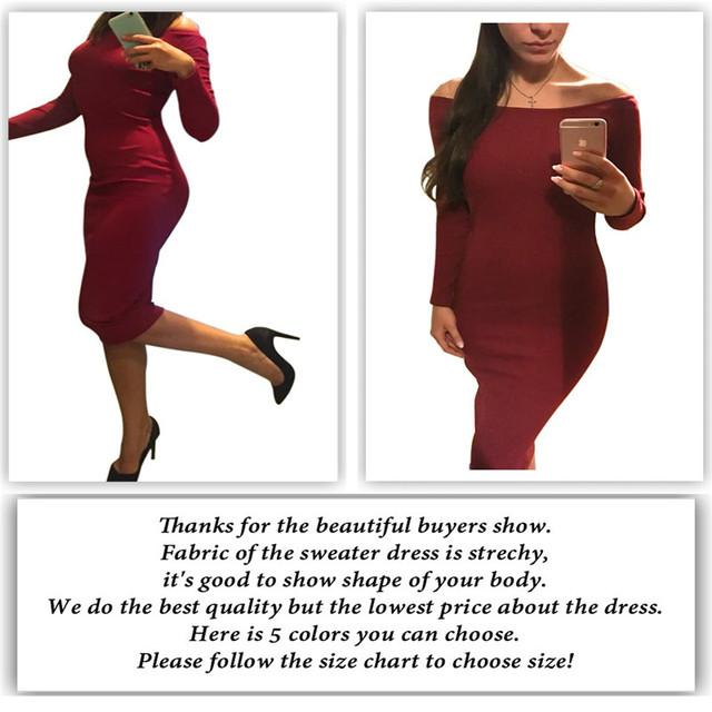 Women's Knit Long Sleeve Off Shoulder Casual Dress