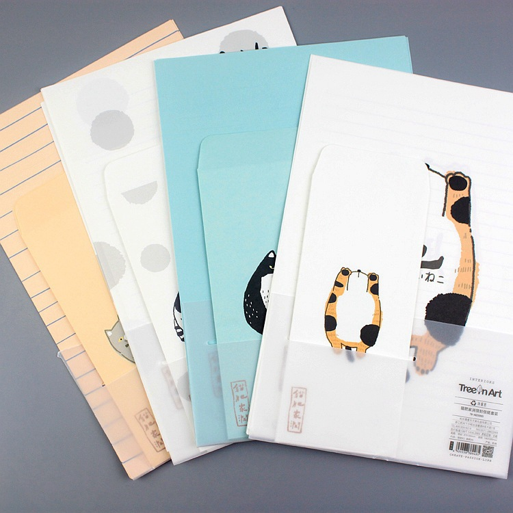 9pcs/Set 3 Envelopes + 6 Sheets Letter Paper Various Cartoon Cat Series Envelope For Gift Korean Stationery
