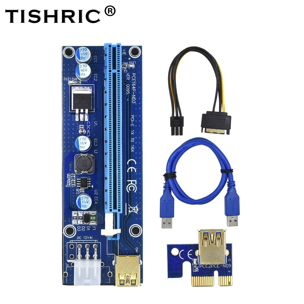 TISHRIC 2018 Golden VER 009S Riser Card PCI-E PCIE PCI Express Molex USB 3.0 Extender Adapter LED 6Pin to SATA 1X 16X for Mining overfly 10pcs 60cm pci e extender pci express riser card 1x to 16x usb 3 0 sata to 6pin ide molex adapter for mining btc miner