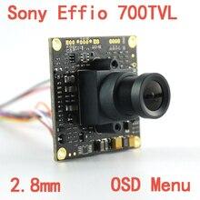 "1/3 ""sony effio e 4140 + 811 700tvl 2.8ミリメートルレンズ広視野ccd cctvカメラボードでosdメニューチップボードセキュリティカメラ"