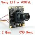 """1/3 """"sony effio-e 4140 + 811 lente 700tvl 2.8mm wide view ccd placa da câmera de cctv com menu osd aglomerado para câmera de segurança"""