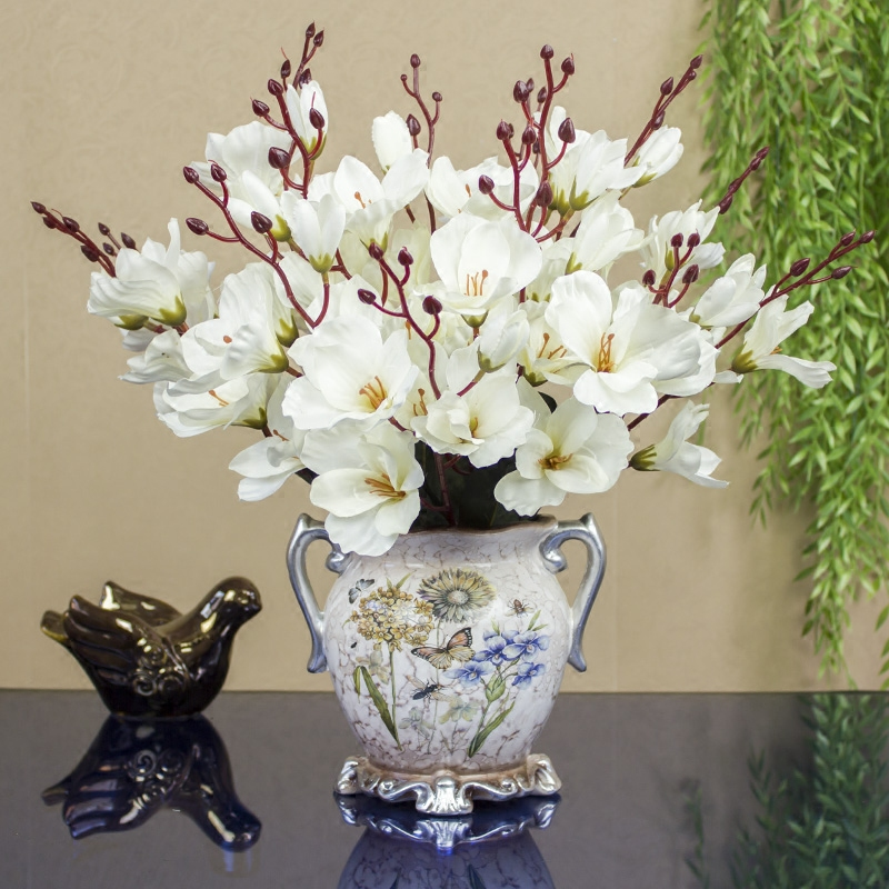 Modern Porcelain Ceramic Vase+Artificial Flower Set Ornament Decoration Crafts Home Coffee Table Fake Flowers Potted Figurines