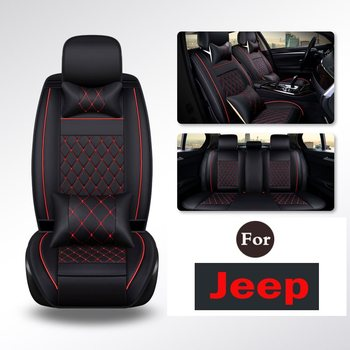 Fit Most Vehicles Seats Deluxe Leather Seat Cover Full Set Cushion Fit Car Interior Accessories For Jeep Rubicon Patriot