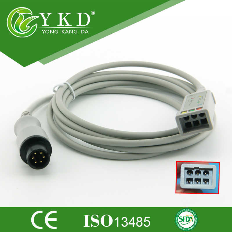 GE medical ECG cable 6 pins to 3 lead ECG truck cable