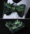 BF3001VS Folral Verde Azul Marinho Homens de Seda Auto Bow Tie set lenço Quadrado Bolso Gravata Borboleta Partido Clássico Casamento