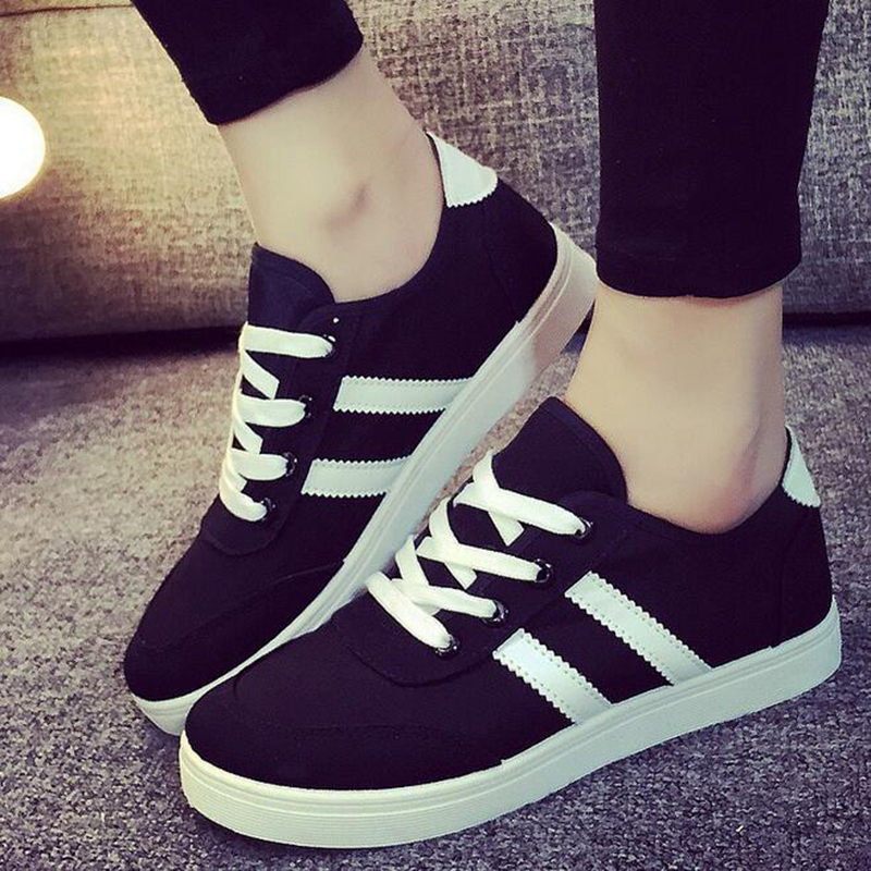 Manresar 2017 new fashion lace up women zapatos mujer women classic canvas casual shoes black and