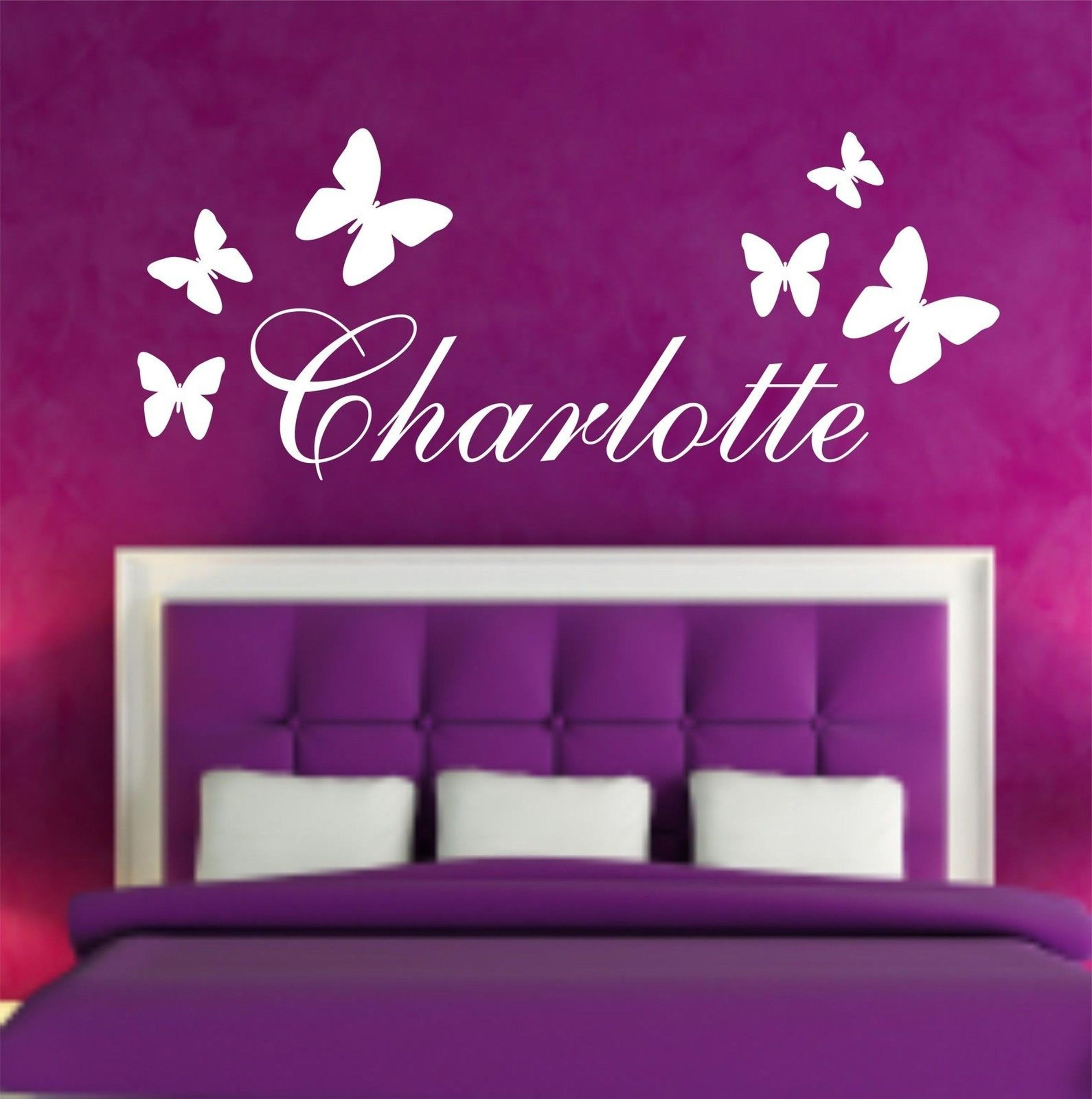 Personalised Butterfly Any Name Vinyl Wall Sticker Art Decal Kids Bedroom  Diy Stickers Home Decoration Accessories