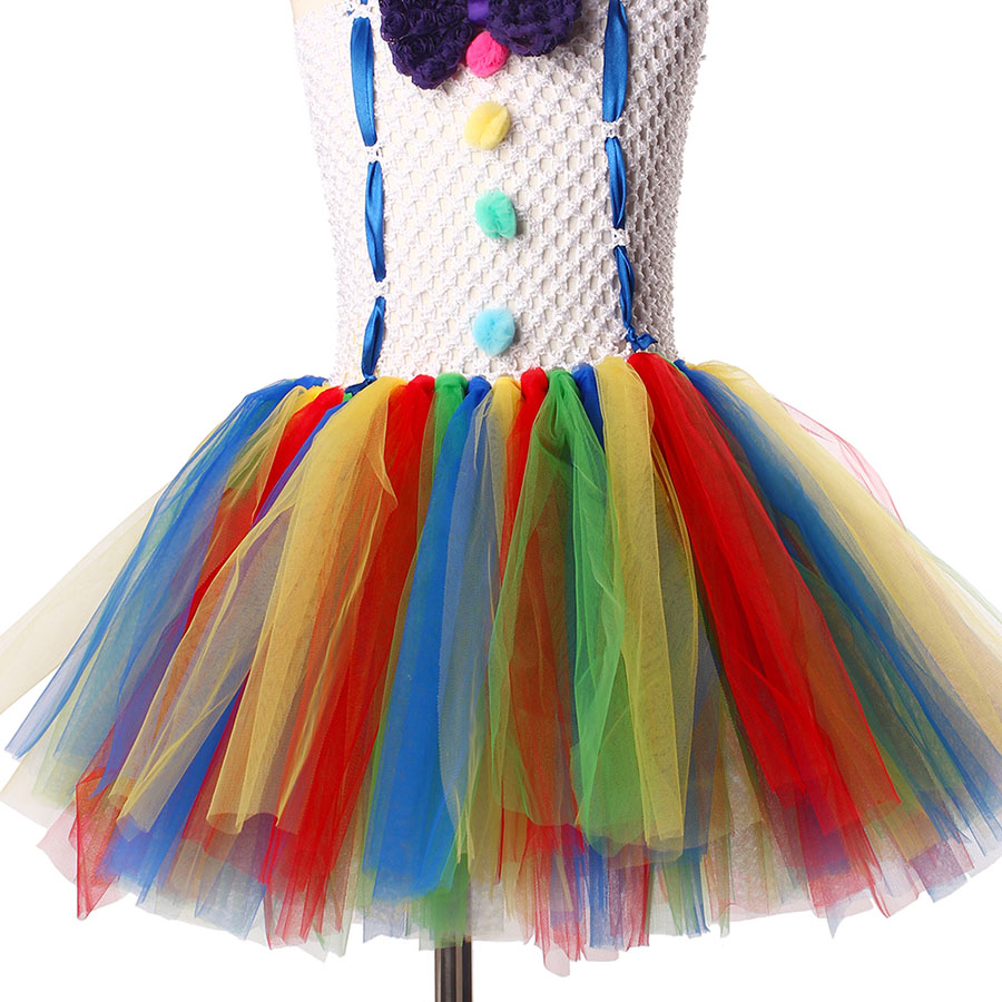 Girls Circus Fancy Clown Tutu Dress with Bow Children Handmade Rainbow Tulle (14)