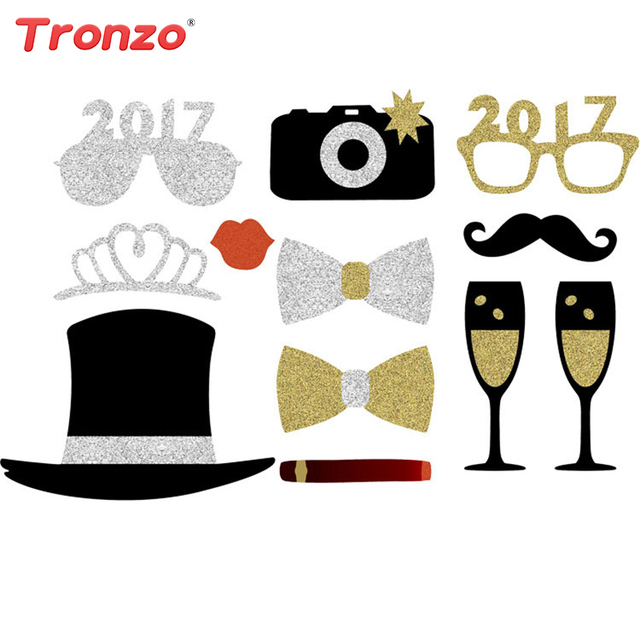 Tronzo 2017 Party Decoration Photo Booth Props Golden Glasses Champagne Wedding Decorations Supplies