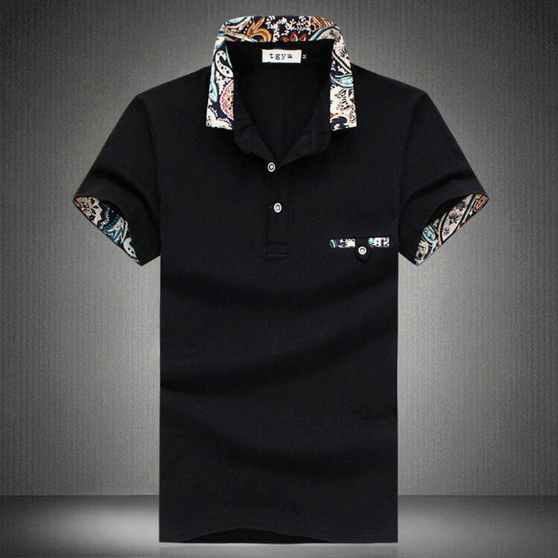 Summer Polo Homme Men's Short-sleeve Floral Lapel Cotton Polo Mens Solid Breathable Polo Shirts Casual Style Polos Plus Size 3XL