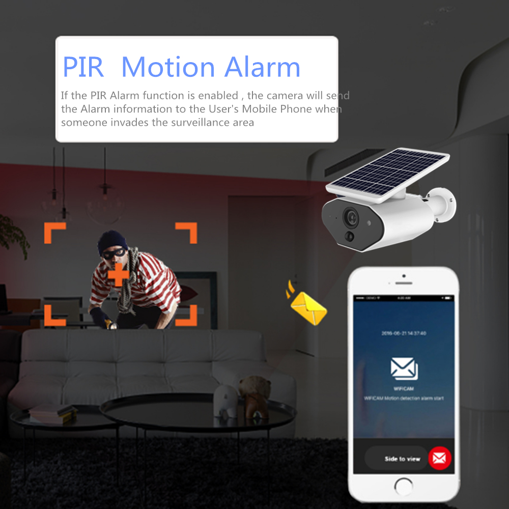 Image 4 - Outdoor Security IP Camera WIFI Wireless 1080P HD Solar Battery Power Surveillance CCTV Bullet PIR Alarm Audio Record TF Card-in Surveillance Cameras from Security & Protection