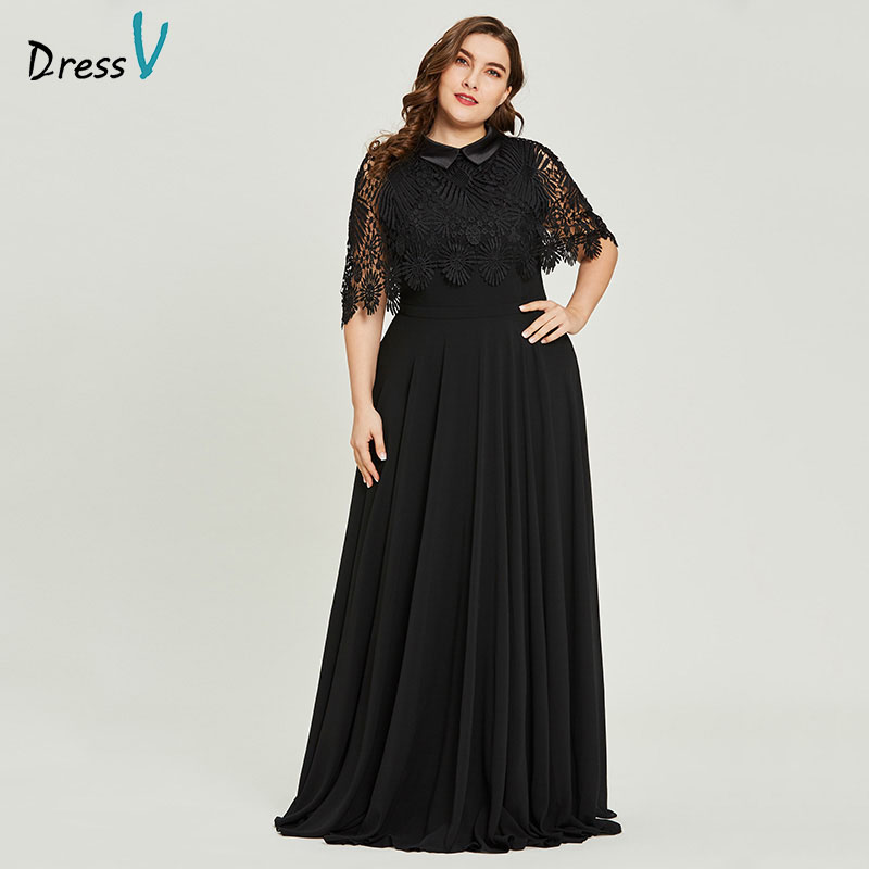 Dressv Black Scoop Neck Plus Size Evening Dress Lace Elegant A Line Half Sleeves Wedding Party Formal Dress Evening Dresses