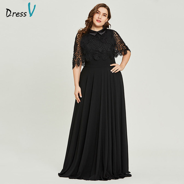 bbb95f2cca Aliexpress.com : Buy Dressv black scoop neck plus size evening dress lace  elegant a line half sleeves wedding party formal dress evening dresses from  ...