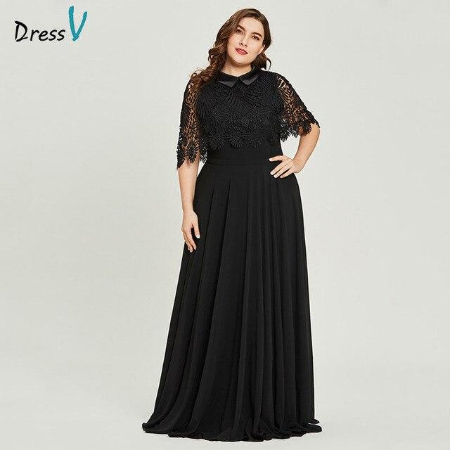 6c13778dd2 Vestido negro cuello redondo talla grande vestido de noche de encaje  elegante línea a media manga