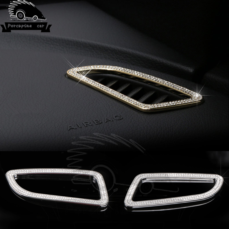 Front Car Style Air Outlet Air Conditioner Diamond Stickers Metal Garment Coverage Cover For Mercedes C E A Class GLK GLE CLS