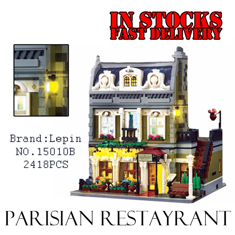 Lepin 15010 Creator Expert City Street Parisian Restaurant with Light Model Building Kits figures Blocks Toys Compatible 10243 dhl new 2418pcs lepin 15010 city street parisian restaurant model building blocks bricks intelligence toys compatible with 10243
