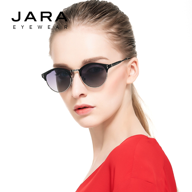 7ea9ee1038 JARA Women Metal Retro Rivet Fashion Polarized Sunglasses UV400 Coating Female  Vintage Round Designer Eyewear Accessories J295