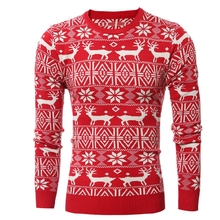 Sweater With Deer 2017 New Thick Warm Cashmere Sweater Men Brand Sweaters Slim Fit Pullover Men Patchwork Pull Homme Knitwear