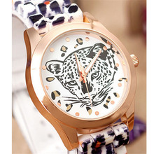 1PC New style Vogue Design fashion watch Women Leopard Head Watch Leopard Silicone Fashion Watch wholesale Free Shipping NA17
