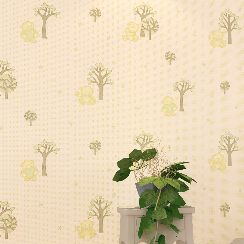 ФОТО Cartoon Bear Pink Beige Children Wallpaper For Walls 3D For Bedroom Kids  Boy Girl Room Wall Decor Wall paper Background Rolls