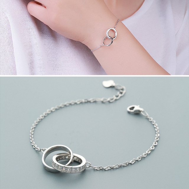 Factory Direct Sales S925 Silver Bracelet Female Big Double Ring Bracelet