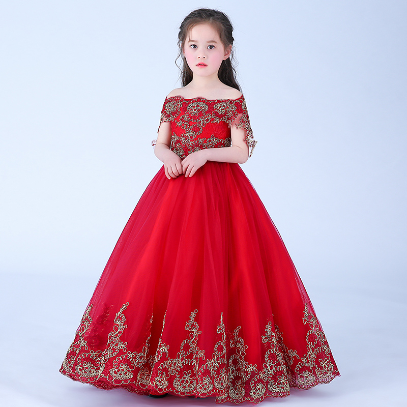 2018 Wine Red Flower Girl Dress Lace Birthday Party Dress For Girl Princess Dress Floral Ball Gown Long Kids Pageant Gown AA11 стоимость