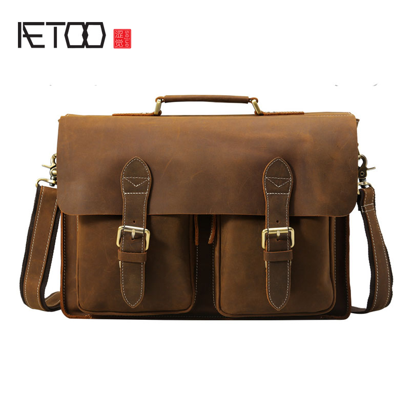 AETOO Tide cow British wind handmade mad horse leather hand messenger business package men briefcase leather computer bag aetoo crazy horse leather leather classic classic men s 14 inch business portable computer bag
