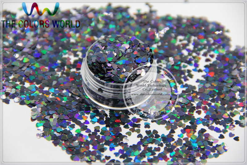 LM-10  Size 3 mm laser holographic  Black color Glitter paillette  Heart  shape spangles for Nail Art DIY supplies1pack=50g tcf510 solvent resistant neon rose carmine color mickey mouse shape spangles for nail polish and other diy decoration1pack 50g
